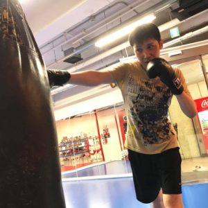 名古屋JKF キックボクシングフィットネスジム-濱崎さま サンドバッグだけやって帰ることもできる